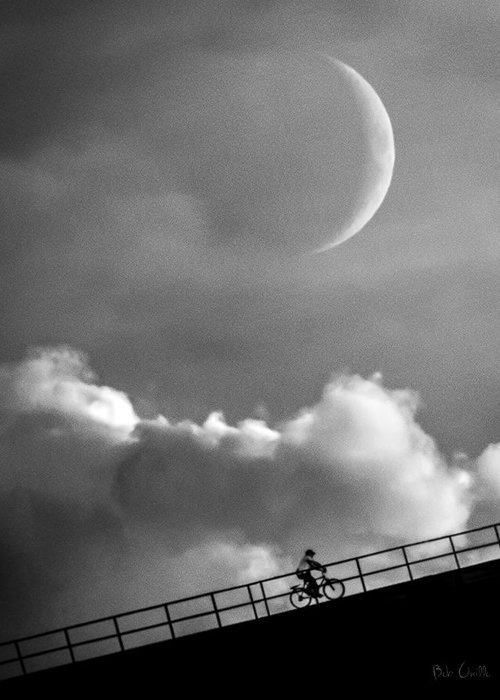 Crescent Moon Greeting Card featuring the photograph No Turning Back by Bob Orsillo