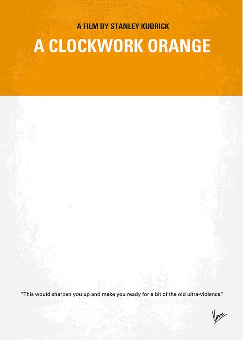Clockwork Greeting Card featuring the photograph No002 My A Clockwork Orange Minimal Movie Poster by Chungkong Art