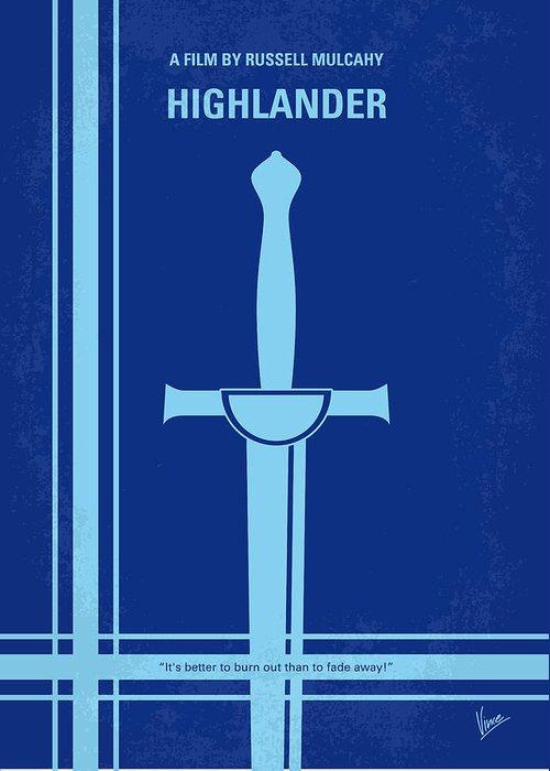 Highlander Greeting Card featuring the digital art No034 My Highlander Minimal Movie Poster.jpg by Chungkong Art