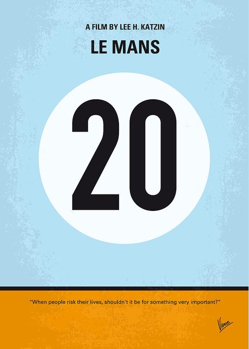 Le Greeting Card featuring the digital art No038 My Le Mans Minimal Movie Poster by Chungkong Art