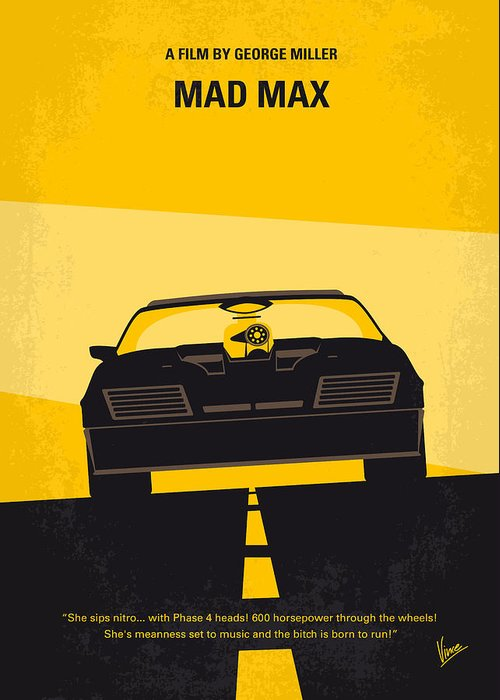 Mad Greeting Card featuring the digital art No051 My Mad Max Minimal Movie Poster by Chungkong Art