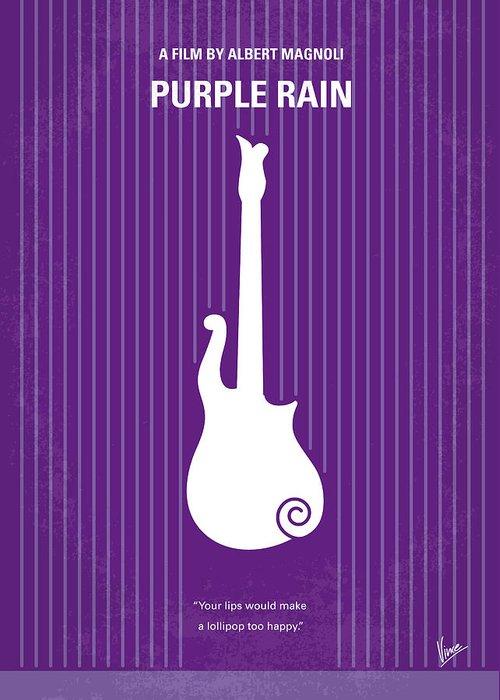 Purple Greeting Card featuring the digital art No124 My Purple Rain Minimal Movie Poster by Chungkong Art
