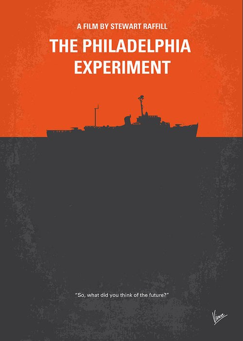Philadelphia Greeting Card featuring the digital art No126 My The Philadelphia Experiment Minimal Movie Poster by Chungkong Art