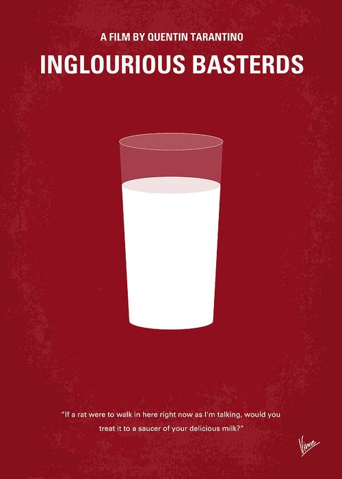 Inglourious Greeting Card featuring the digital art No138 My Inglourious Basterds Minimal Movie Poster by Chungkong Art