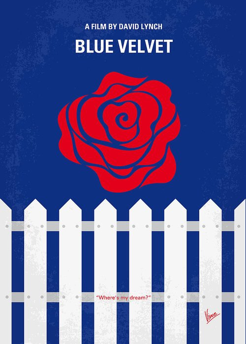 Blue Greeting Card featuring the digital art No170 My Blue Velvet Minimal Movie Poster by Chungkong Art