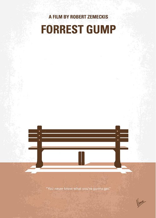 Forrest Greeting Card featuring the digital art No193 My Forrest Gump Minimal Movie Poster by Chungkong Art