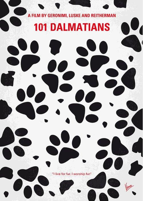 101 Greeting Card featuring the digital art No229 My 101 Dalmatians Minimal Movie Poster by Chungkong Art