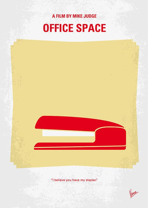 Office Greeting Card featuring the digital art No255 My Office Space Minimal Movie Poster by Chungkong Art