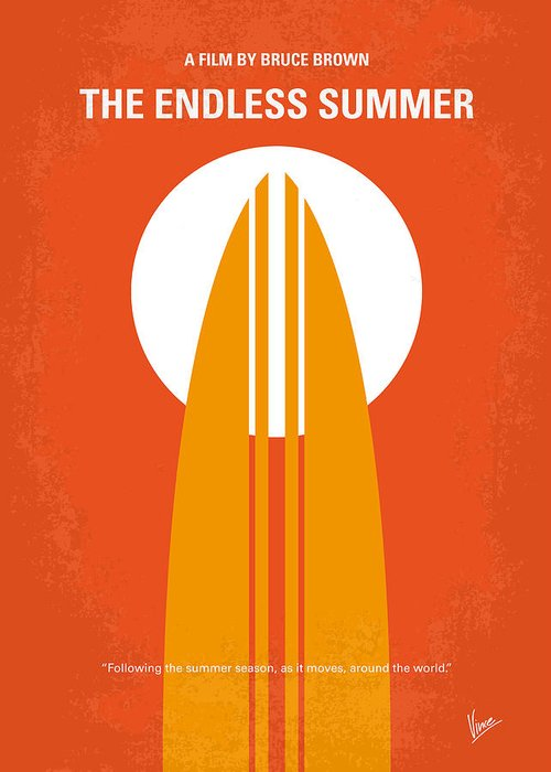Endless Greeting Card featuring the digital art No274 My The Endless Summer Minimal Movie Poster by Chungkong Art