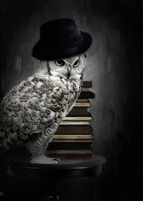 Owl Scholar Greeting Card featuring the digital art Noble One by Lourry Legarde