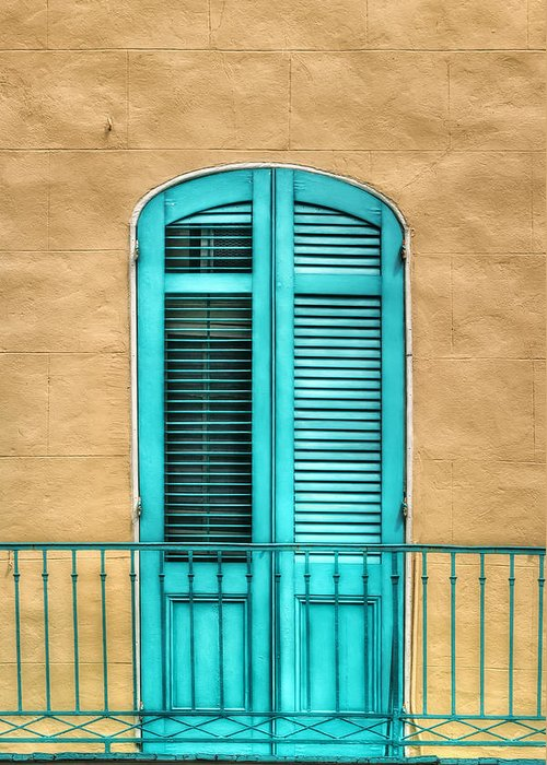 Door Greeting Card featuring the photograph Nola Balcony by Brenda Bryant