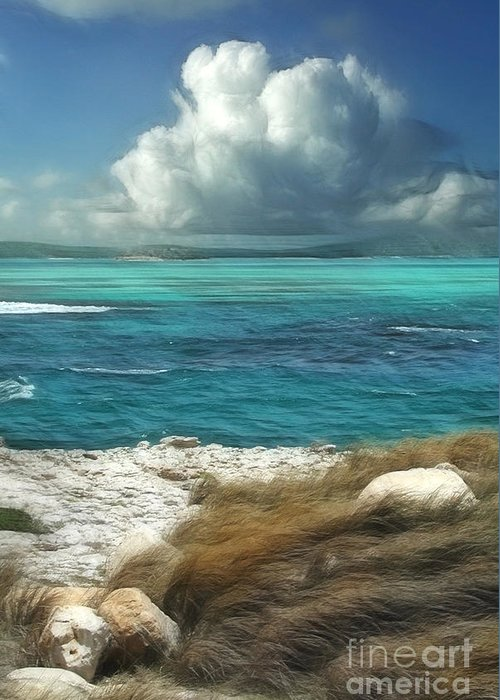 Antigua Greeting Card featuring the painting Nonsuch Bay Antigua by John Edwards