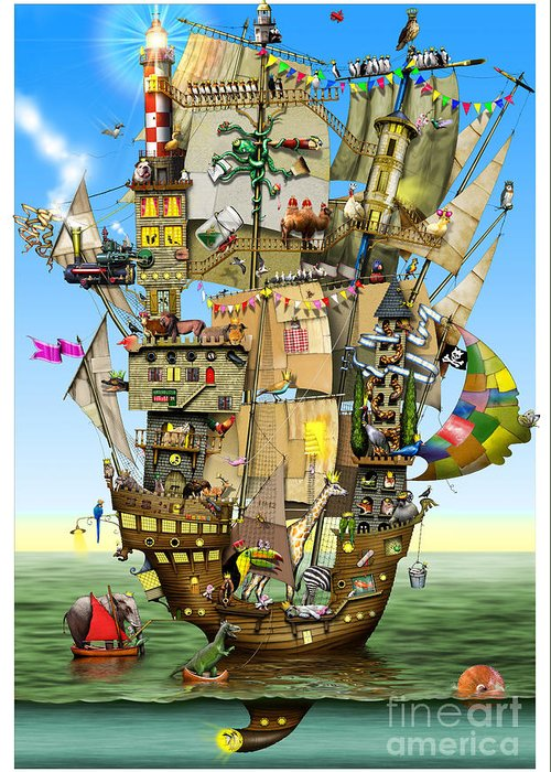 Colin Thompson Greeting Card featuring the digital art Norah's Ark by Colin Thompson
