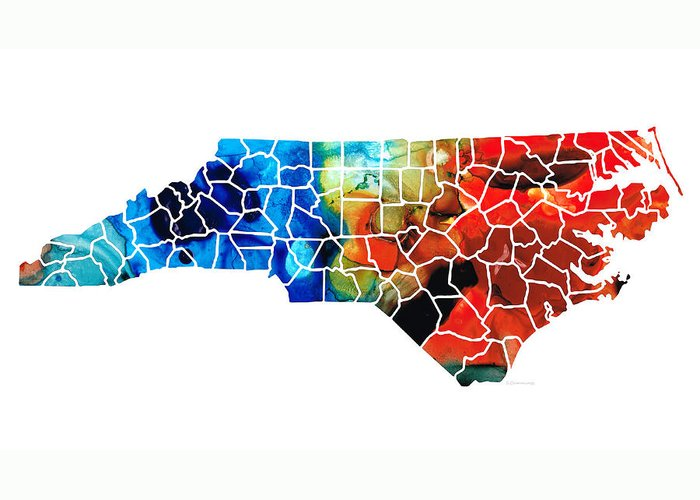 North Carolina Greeting Card featuring the painting North Carolina - Colorful Wall Map By Sharon Cummings by Sharon Cummings