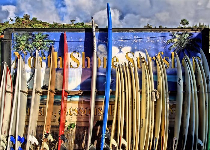 North Shore Greeting Card featuring the photograph North Shore Surf Shop by DJ Florek