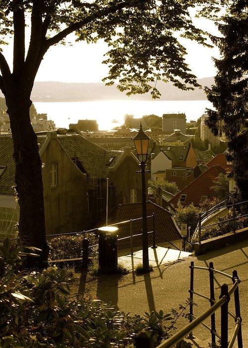 Norwegian Art Greeting Card featuring the photograph Norway - Bergen - Summertime by Hilde Mariann Hansen