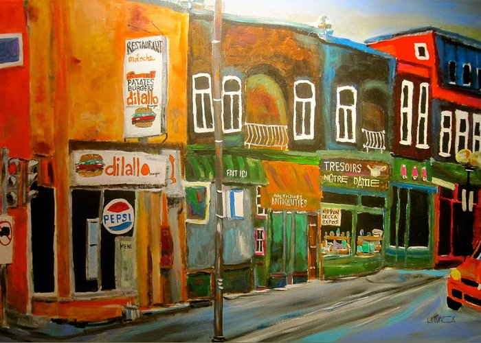 Dilallo's Hamburger Restaurant Greeting Card featuring the painting Notre Dame Antique Row by Michael Litvack