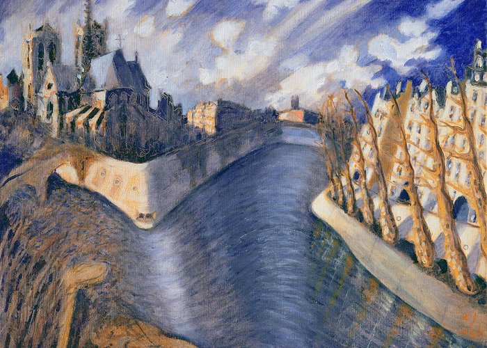 City Greeting Card featuring the painting Notre Dame Cathedral by Charlotte Johnson Wahl