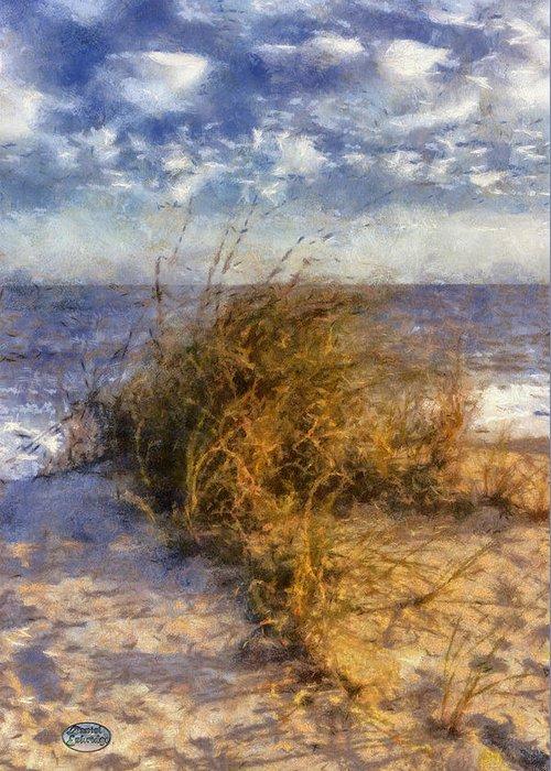 Dune Grass Greeting Card featuring the digital art November Dune Grass by Daniel Eskridge