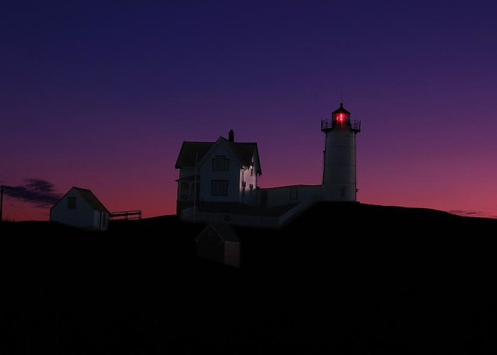 York Greeting Card featuring the photograph Nubble At Night by Andrea Galiffi