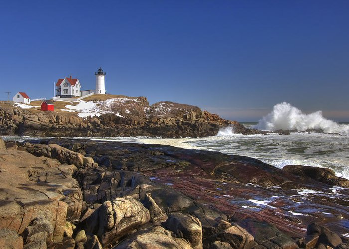 New England Lighthouse Greeting Card featuring the photograph Nubble Light by Joann Vitali