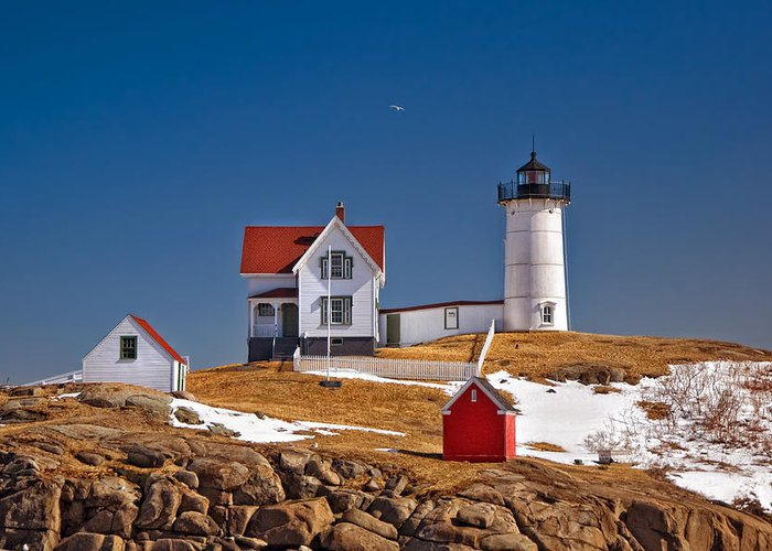Water Greeting Card featuring the photograph Nubble Lighthouse 3 by Joann Vitali