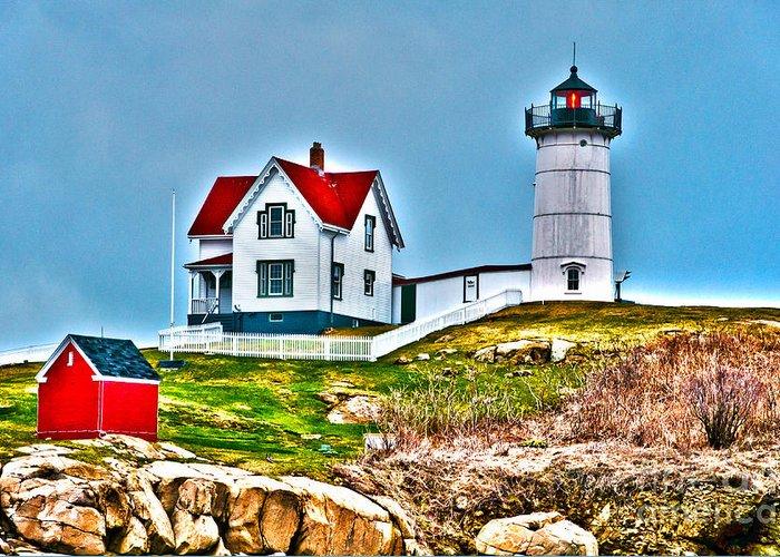 Nubble Lighthouse Greeting Card featuring the photograph Nubble Lighthouse Cape Neddick Maine 2 by Glenn Gordon