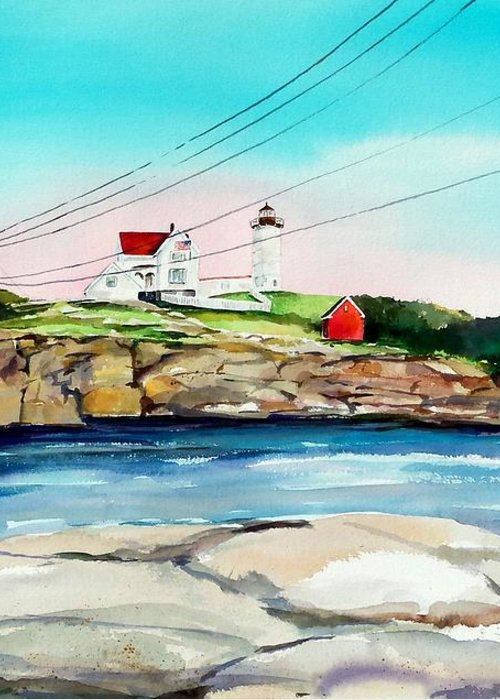 Nubble Lighthouse Greeting Card featuring the painting Nubble Lighthouse Maine by Scott Nelson