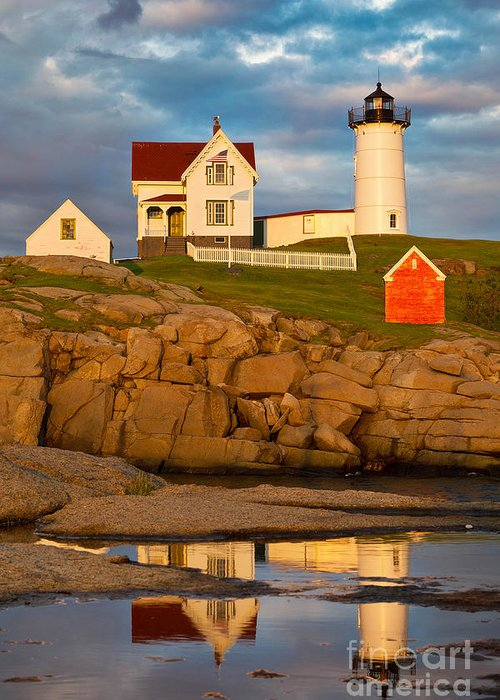 Atlantic Ocean Greeting Card featuring the photograph Nubble Lighthouse No 1 by Jerry Fornarotto