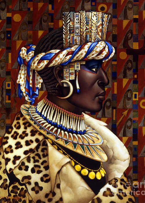 African Greeting Card featuring the painting Nubian Prince by Jane Whiting Chrzanoska