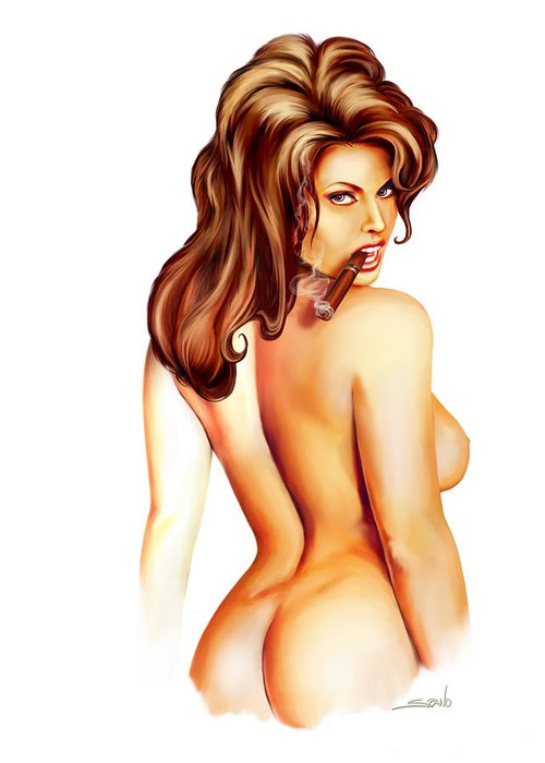 Spano Greeting Card featuring the painting Nude Cigar Girl By Spano by Michael Spano