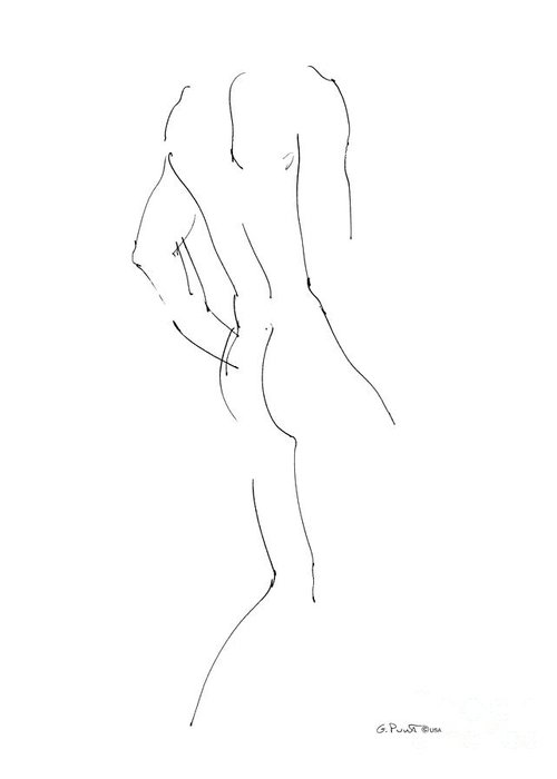 Male Greeting Card featuring the drawing Nude Male Drawings 2 by Gordon Punt