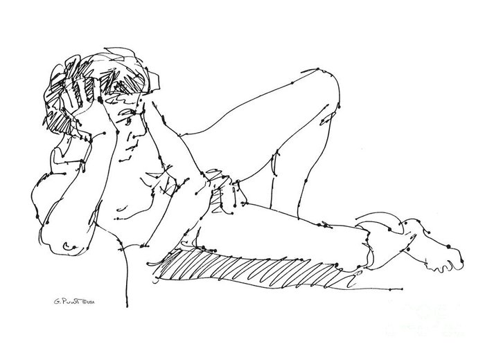 Male Greeting Card featuring the drawing Nude Male Drawings 5 by Gordon Punt