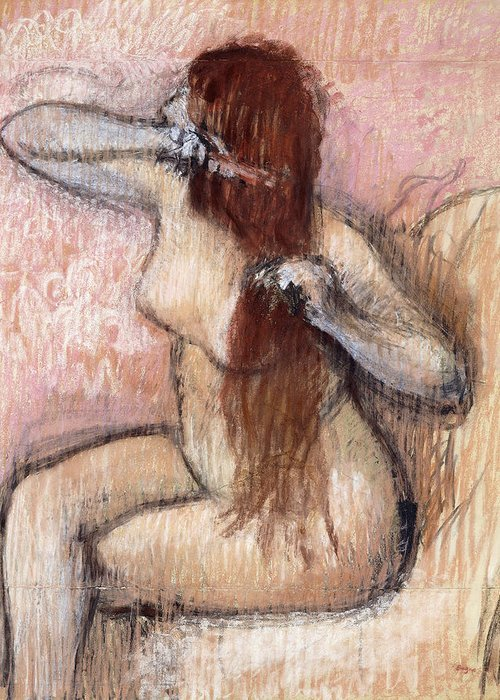 1880s Greeting Card featuring the painting Nude Seated Woman Arranging Her Hair Femme Nu Assise Se Coiffant by Edgar Degas