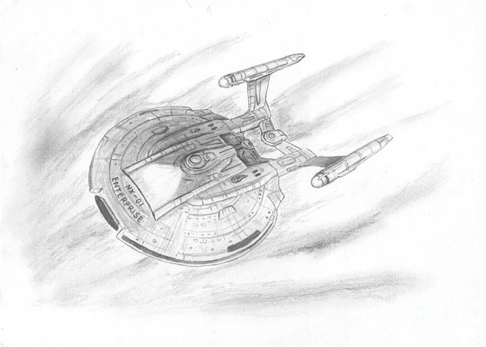 Space Greeting Card featuring the drawing Nx-01 Enterprise by Michael Penny