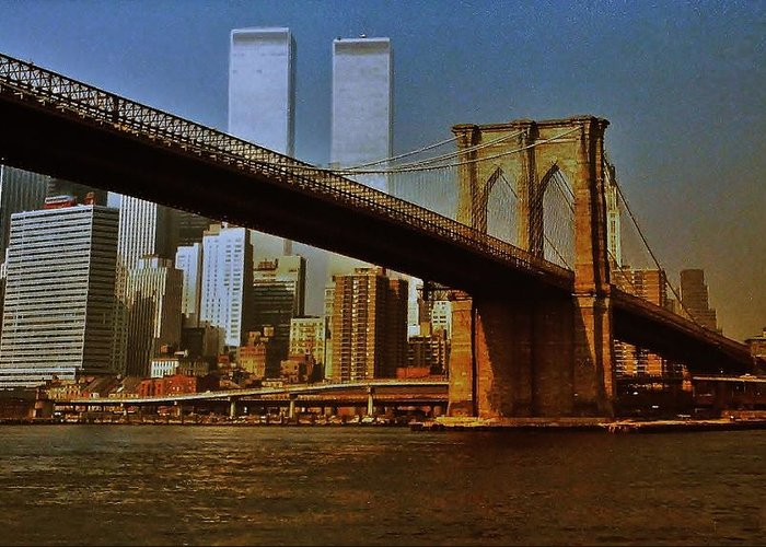 World Trade Center Greeting Card featuring the photograph Nyc 1976 by Benjamin Yeager