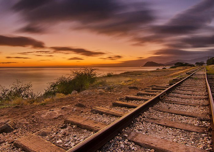 Rail Road Greeting Card featuring the photograph Oahu Rail Road Track Sunset by Tin Lung Chao