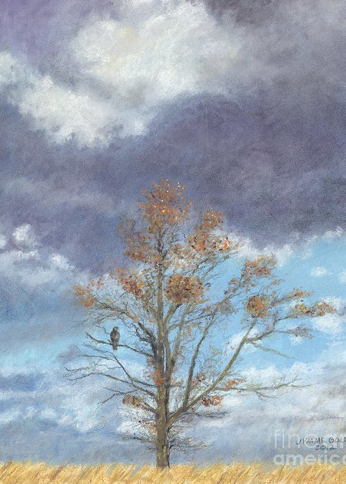 Landscape Greeting Card featuring the painting Oak And Clouds by Jymme Golden