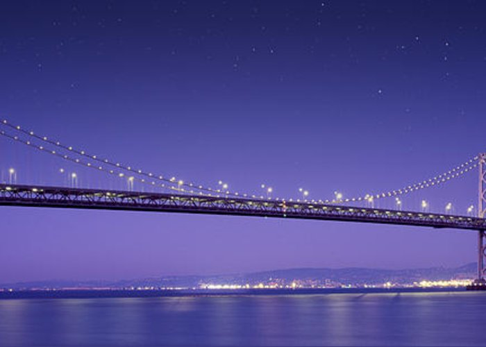 Oakland Bay Bridge Greeting Card featuring the mixed media Oakland Bay Bridge by Aged Pixel