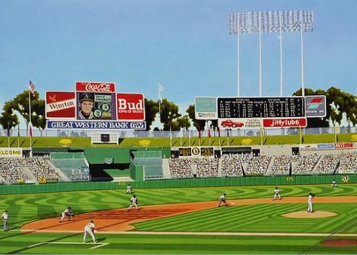 Oakland Greeting Card featuring the painting Oakland by Thomas Kolendra