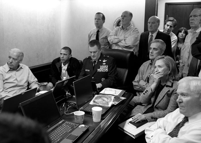 Bin Laden Raid Greeting Card featuring the photograph Obama In White House Situation Room by War Is Hell Store