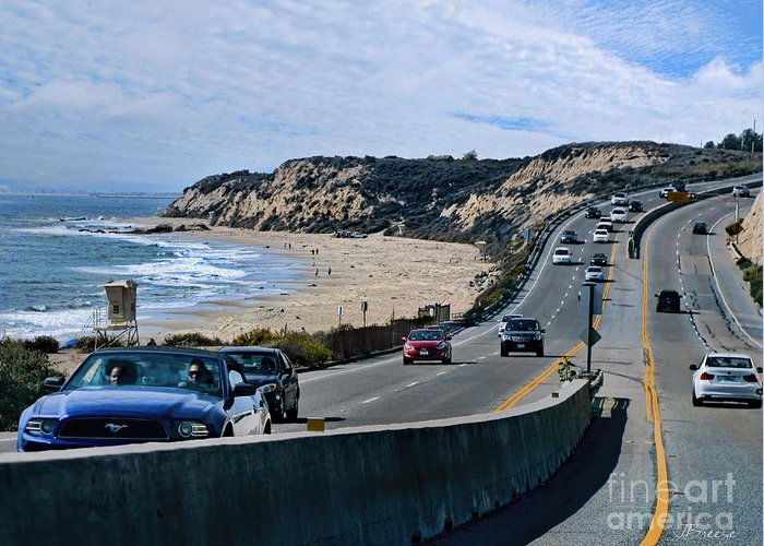 Orange County Greeting Card featuring the photograph Oc On Pch In Ca by Jennie Breeze