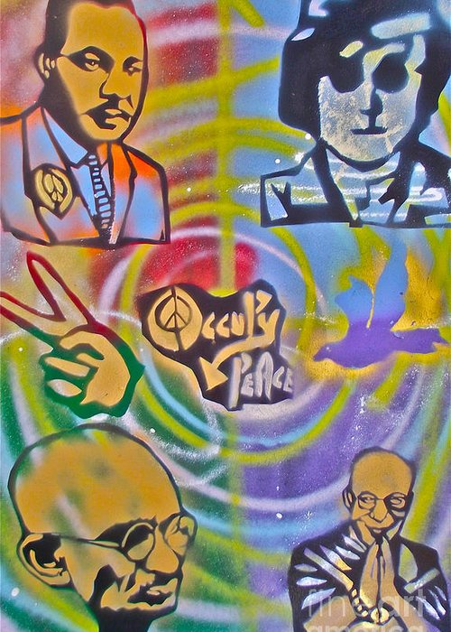 Occupy Greeting Card featuring the painting Occupy 4 Peace by Tony B Conscious