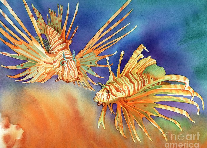 Lionfish Greeting Card featuring the painting Ocean Lions by Tracy L Teeter