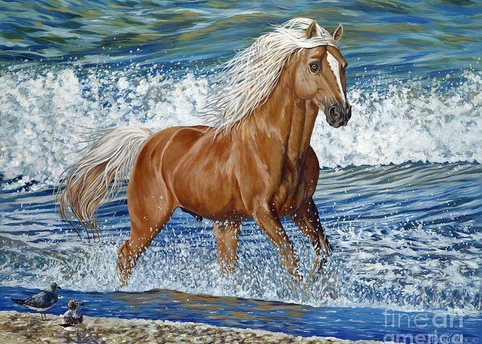 Horse Greeting Card featuring the painting Ocean Stallion by Danielle Perry