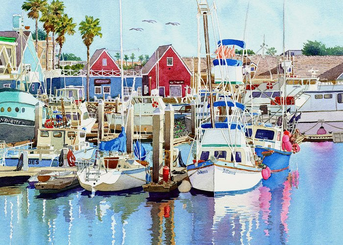 Boating Greeting Card featuring the painting Oceanside California by Mary Helmreich