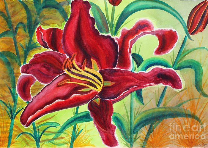 Lily Greeting Card featuring the painting Oddly Twisted by Shannan Peters