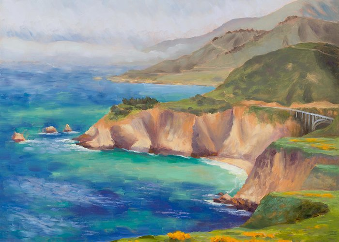Big Sur Greeting Card featuring the painting Ode To Big Sur by Karin Leonard