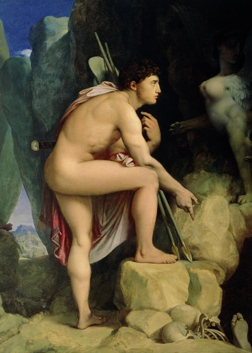 Male; Nude; Arrow; Arrows; King Of Thebes; Confrontation; Riddle; Pensive; Thinking; Pondering; Bones Of Sphinx's Victims; Skull; Foot; Skeleton; Oedipus And The Sphinx Greeting Card featuring the painting Oedipus And The Sphinx by Ingres