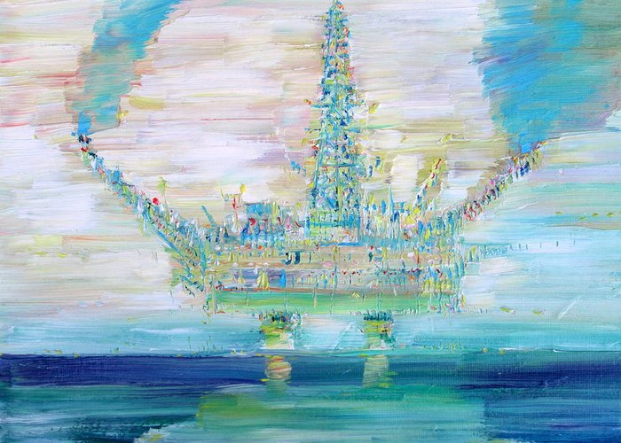 Oil Greeting Card featuring the painting Oil Platform by Fabrizio Cassetta